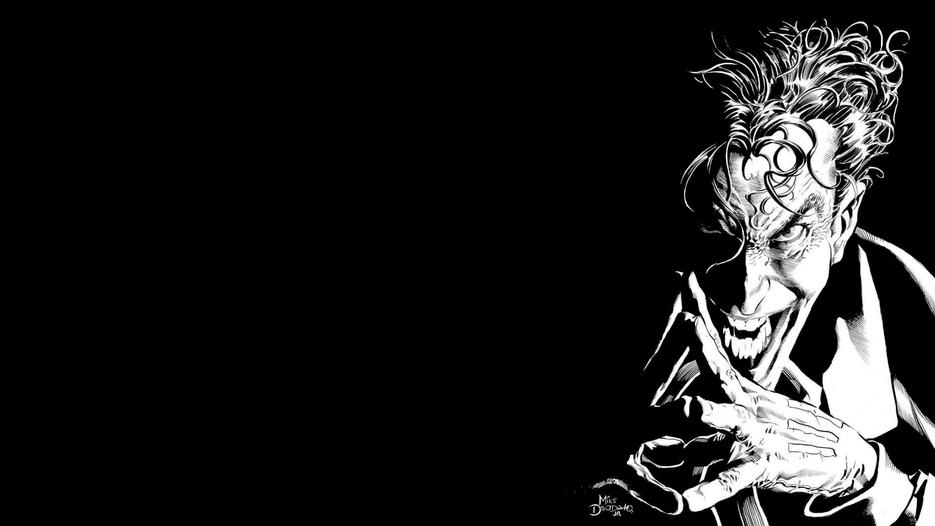 1920x1080 Black & white joker HD wallpaper