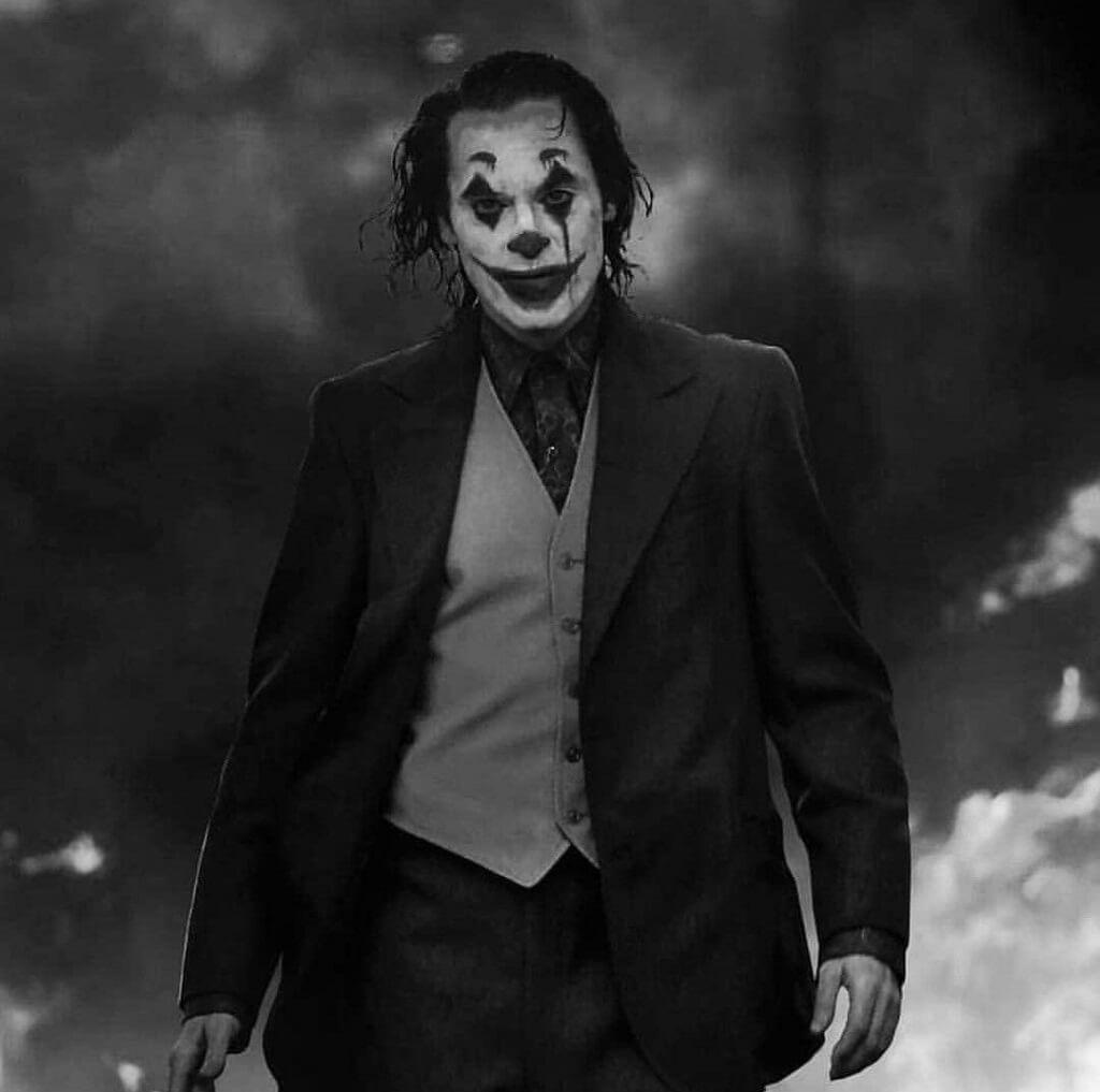 Black and white image of Joker standing