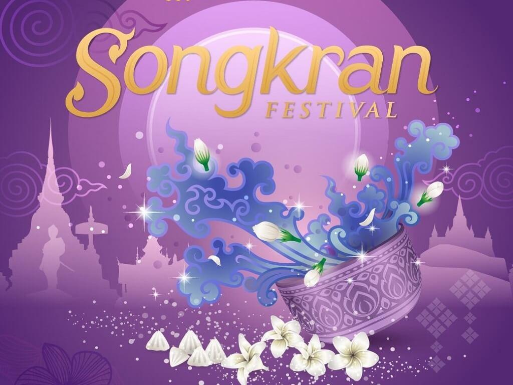 Dark contrast images of Songkran Thai festival