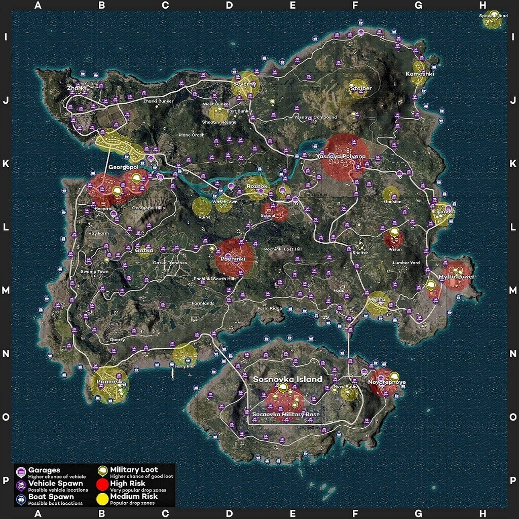 Erangel loot detail in game map