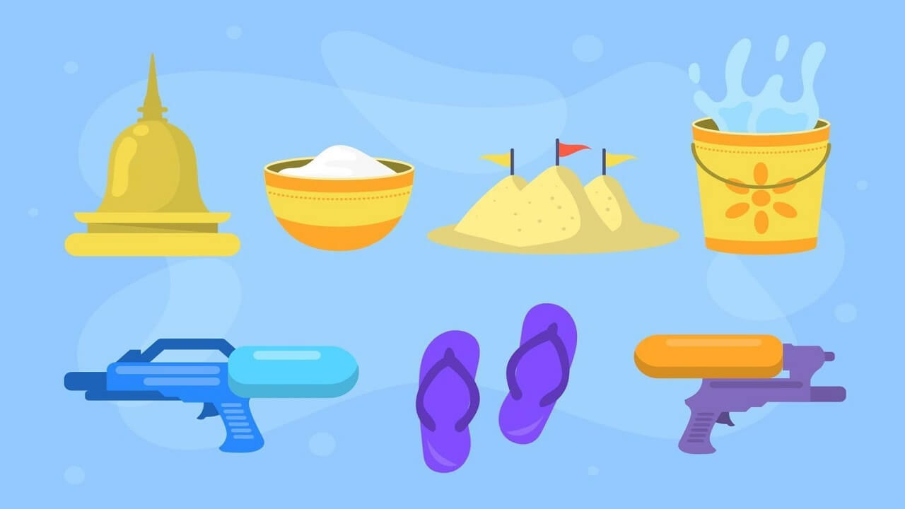 Flat 2D Songkran festival icons collection available free