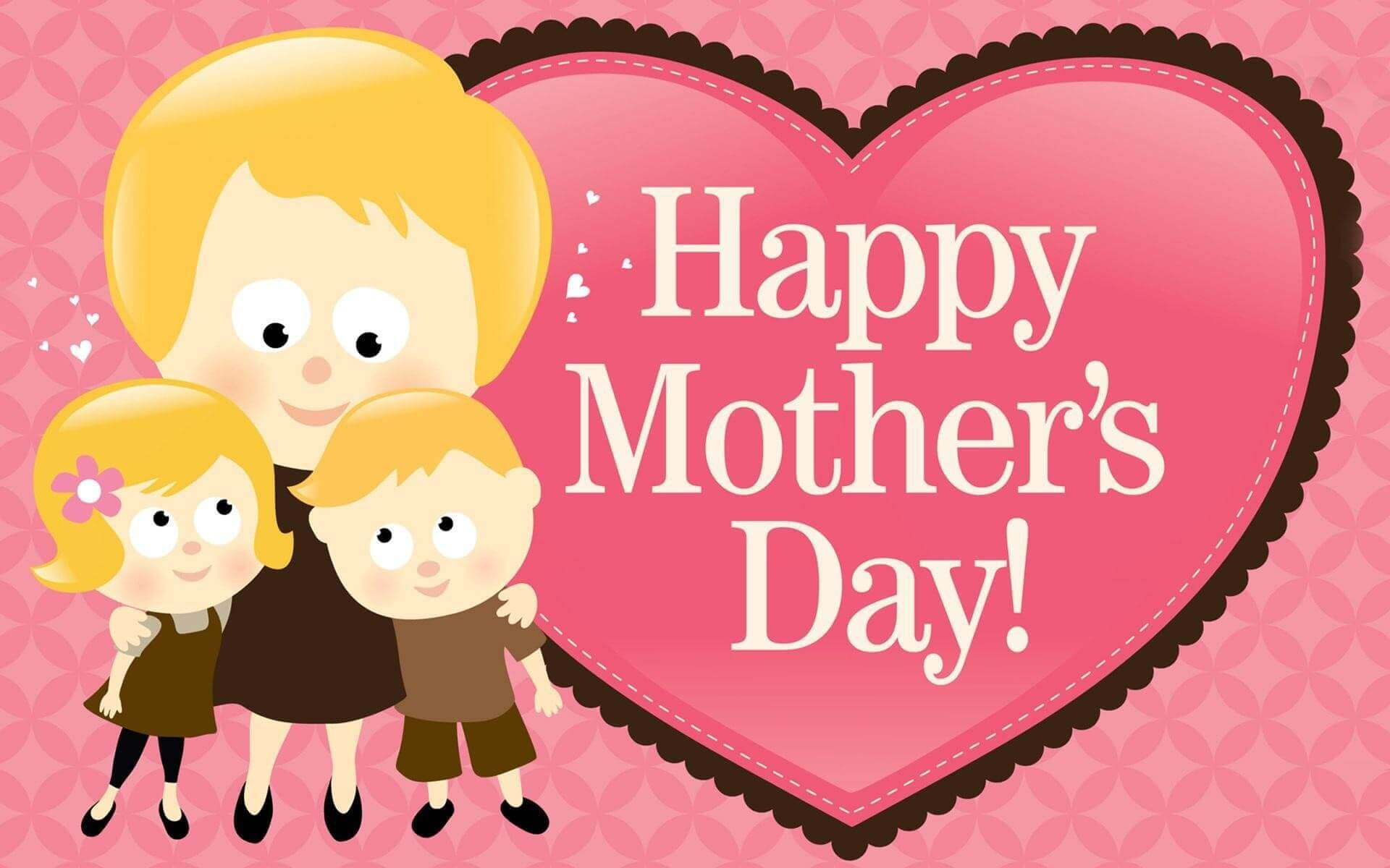 Happy Mothers Day heart pics with mother holding kids