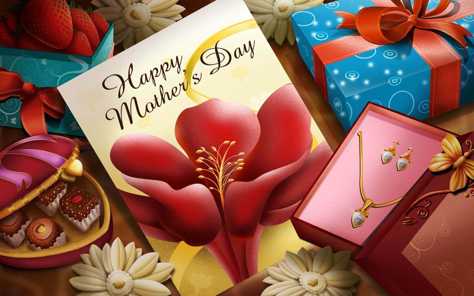 Happy Mothers Day picture with gifts chocolates