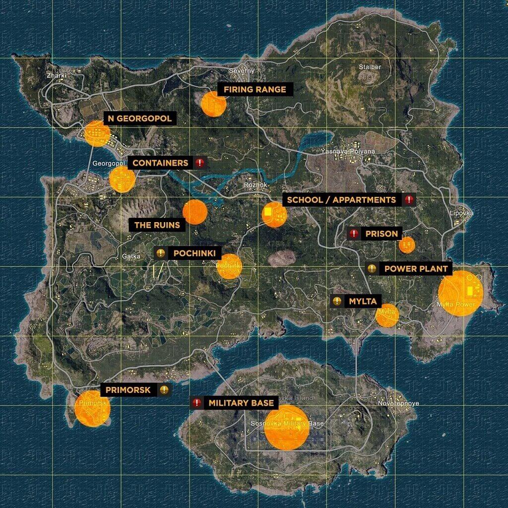 Image of Erangel spots for loot