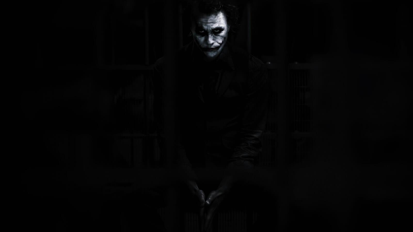 Joker Batman noir Heath Ledger The Dark Knight movies