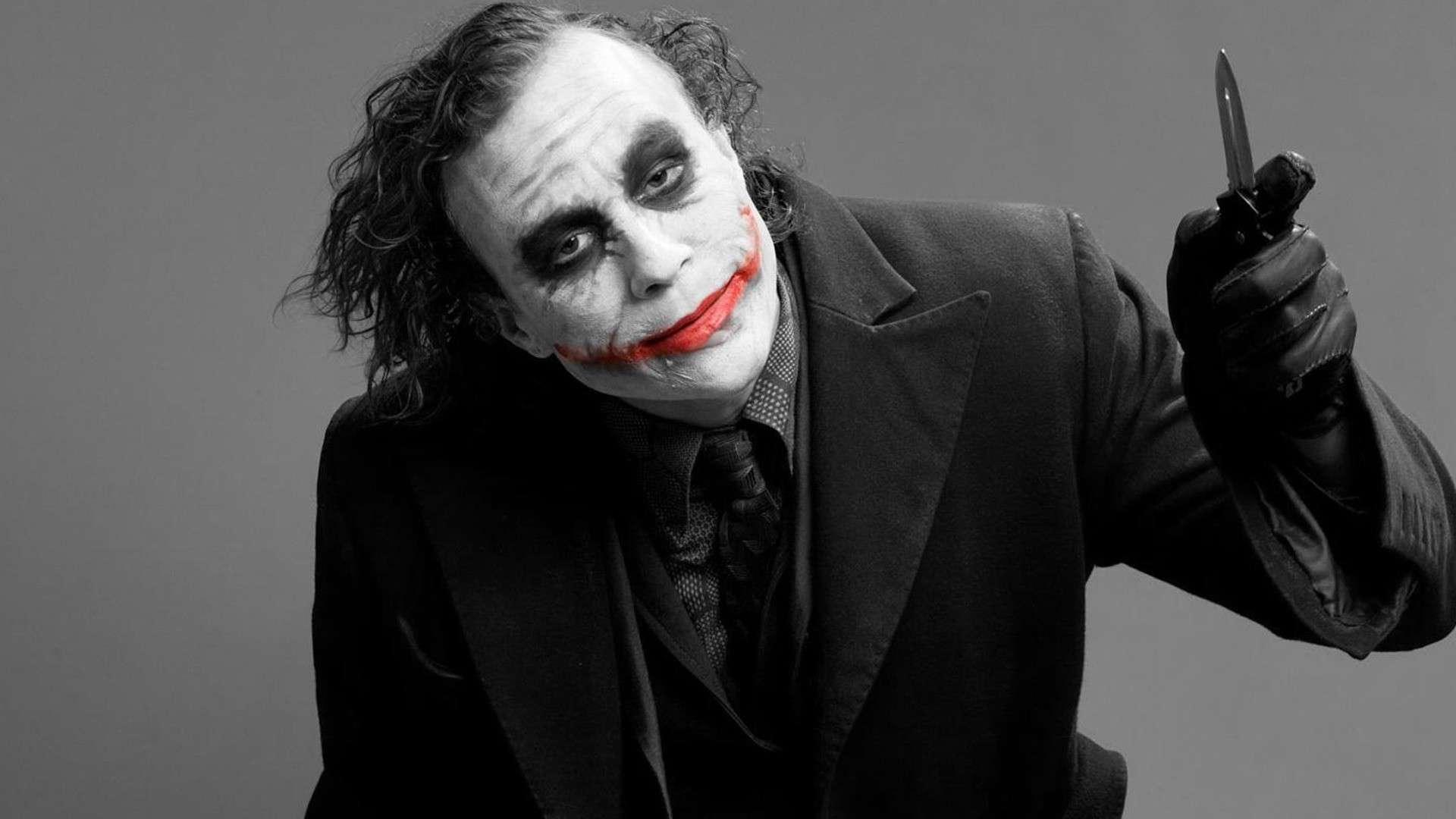 Joker Heath Ledger DC comics black and red batman photograph