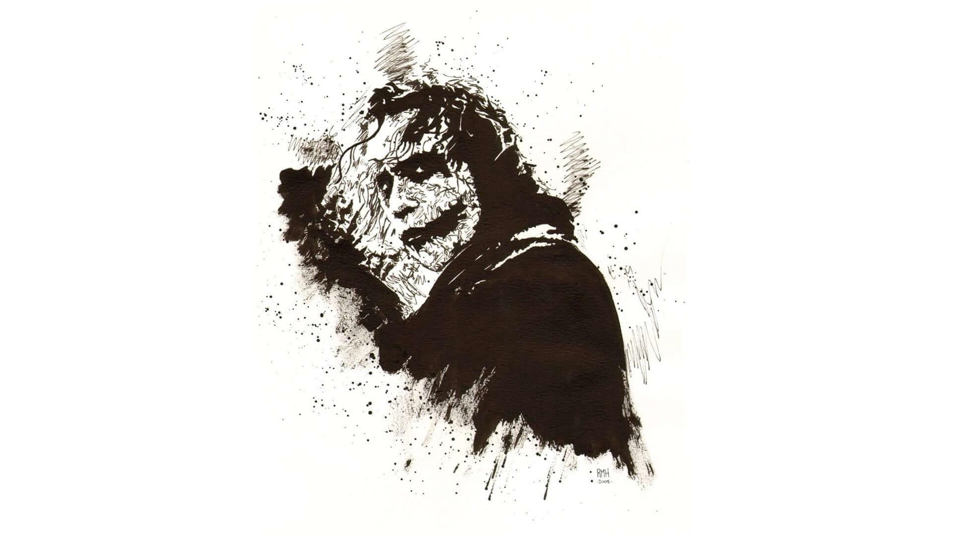 Joker black and white drawing monster wallpaper