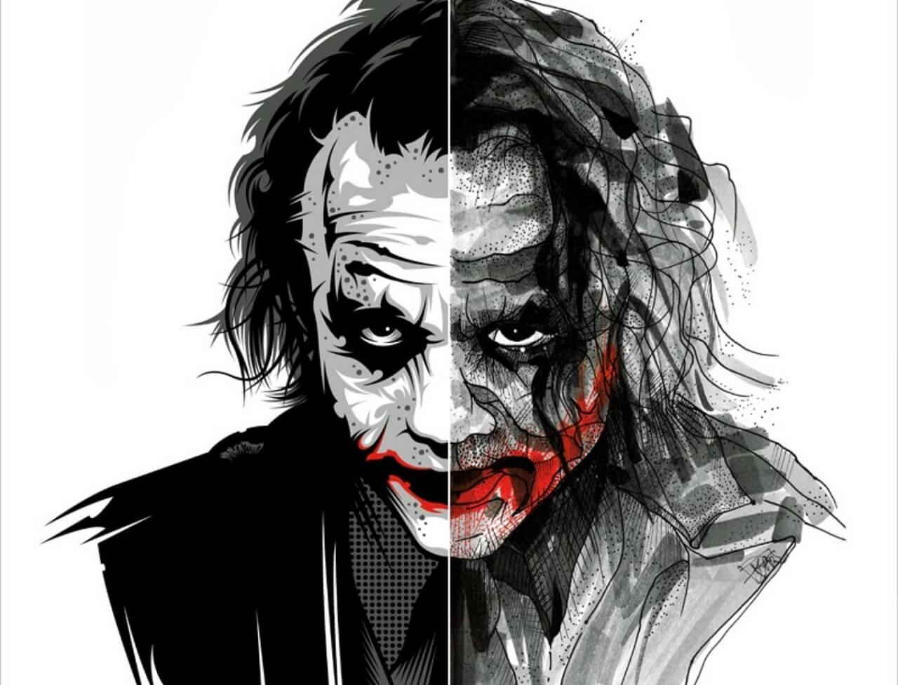 Joker black and white sketch