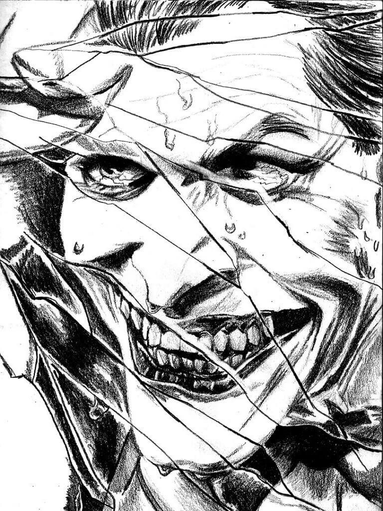 Joker cracked white black wallpaper for smartphones