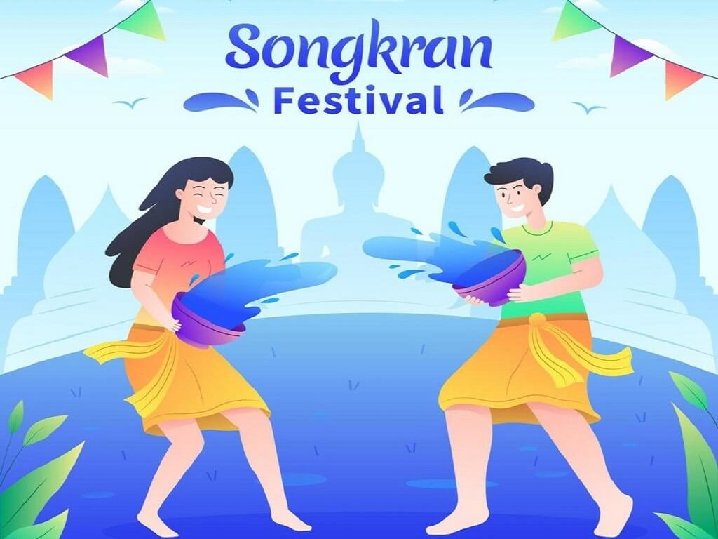 People playing water at Songkran festival free wallpaper