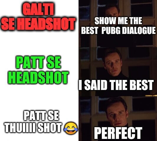 Pubg Patt se headshot meme funny image for WhatsApp