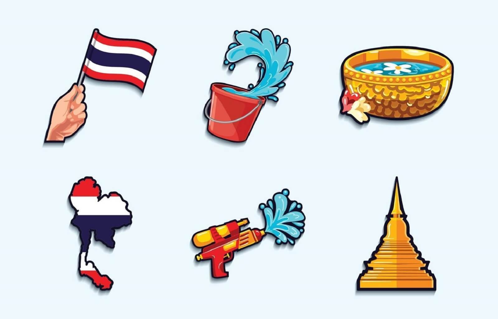 Songkran festival activities icons collection image