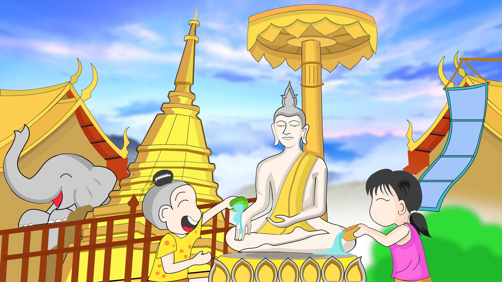 Songkran festival animated HD wallpapers kids worshipping Lord Buddha