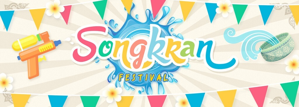Songkran festival beautiful banner for printing and Facebook cover pages
