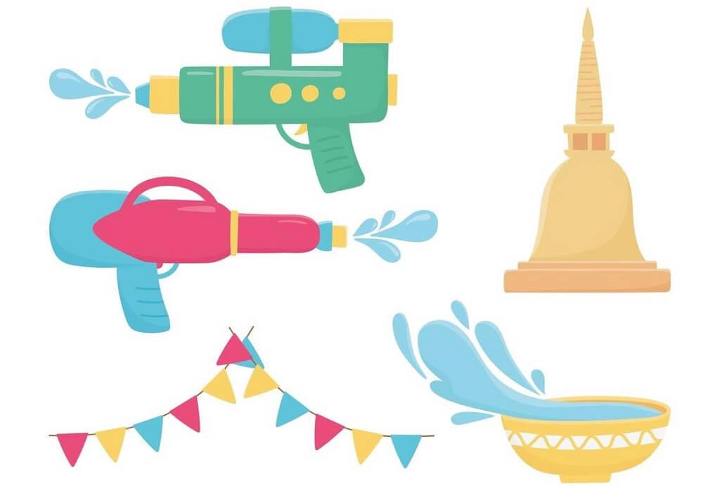 Songkran festival celebration icons set image