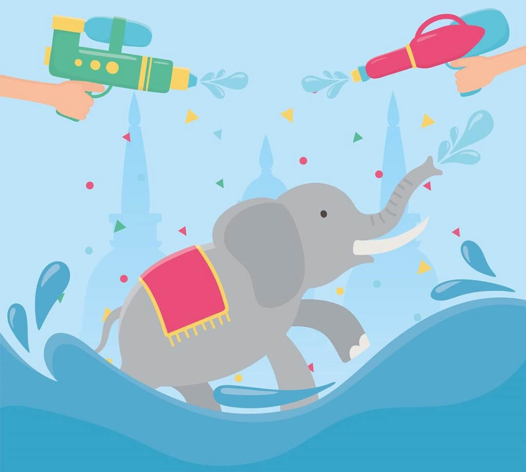 Songkran festival celebration wallpaper of elephant and water toys