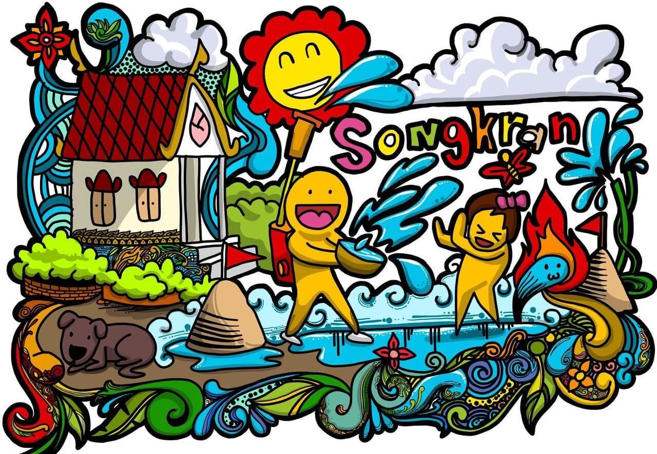 Songkran festival doodle image