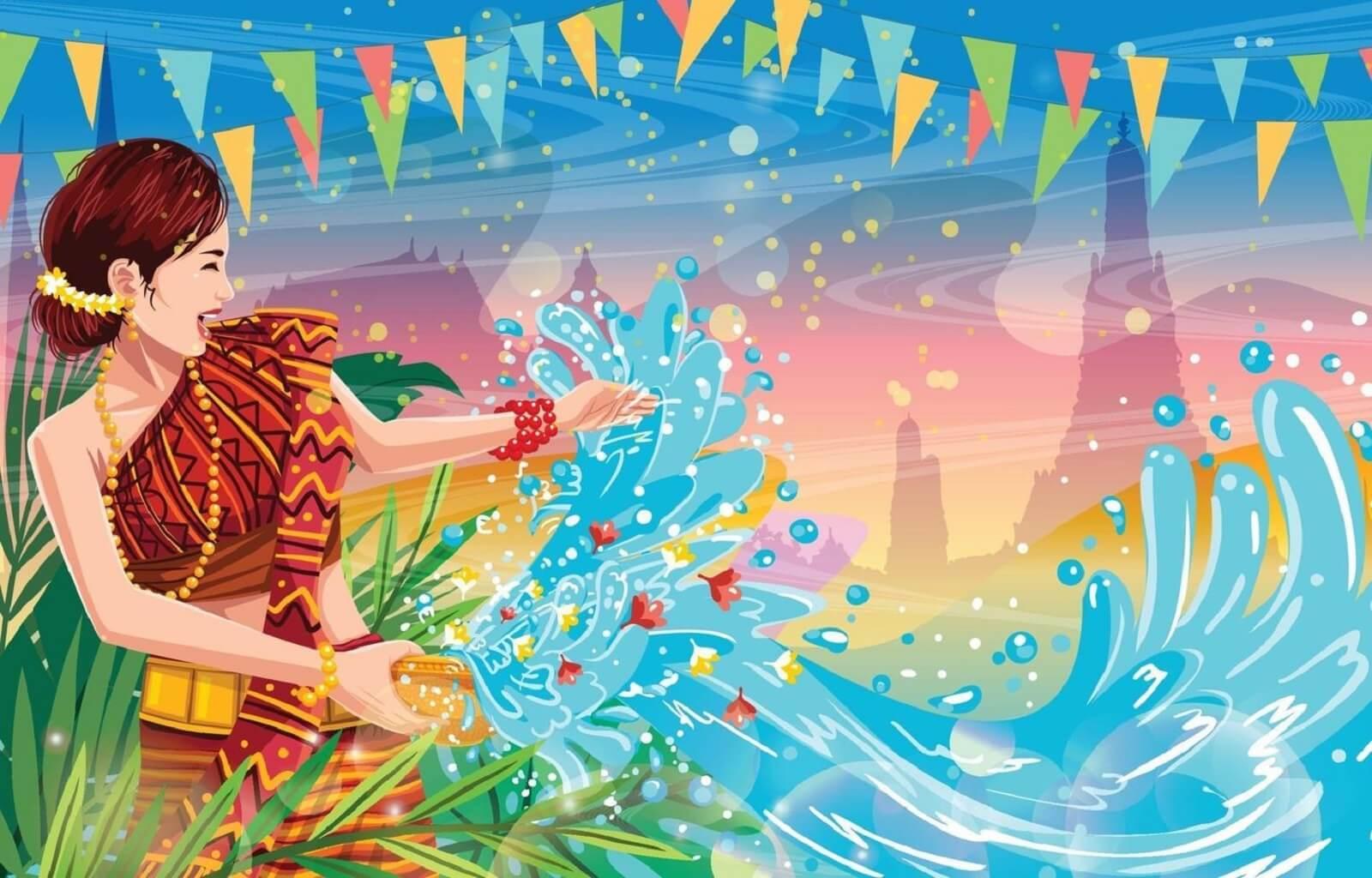 Songkran woman splashing water background free vector