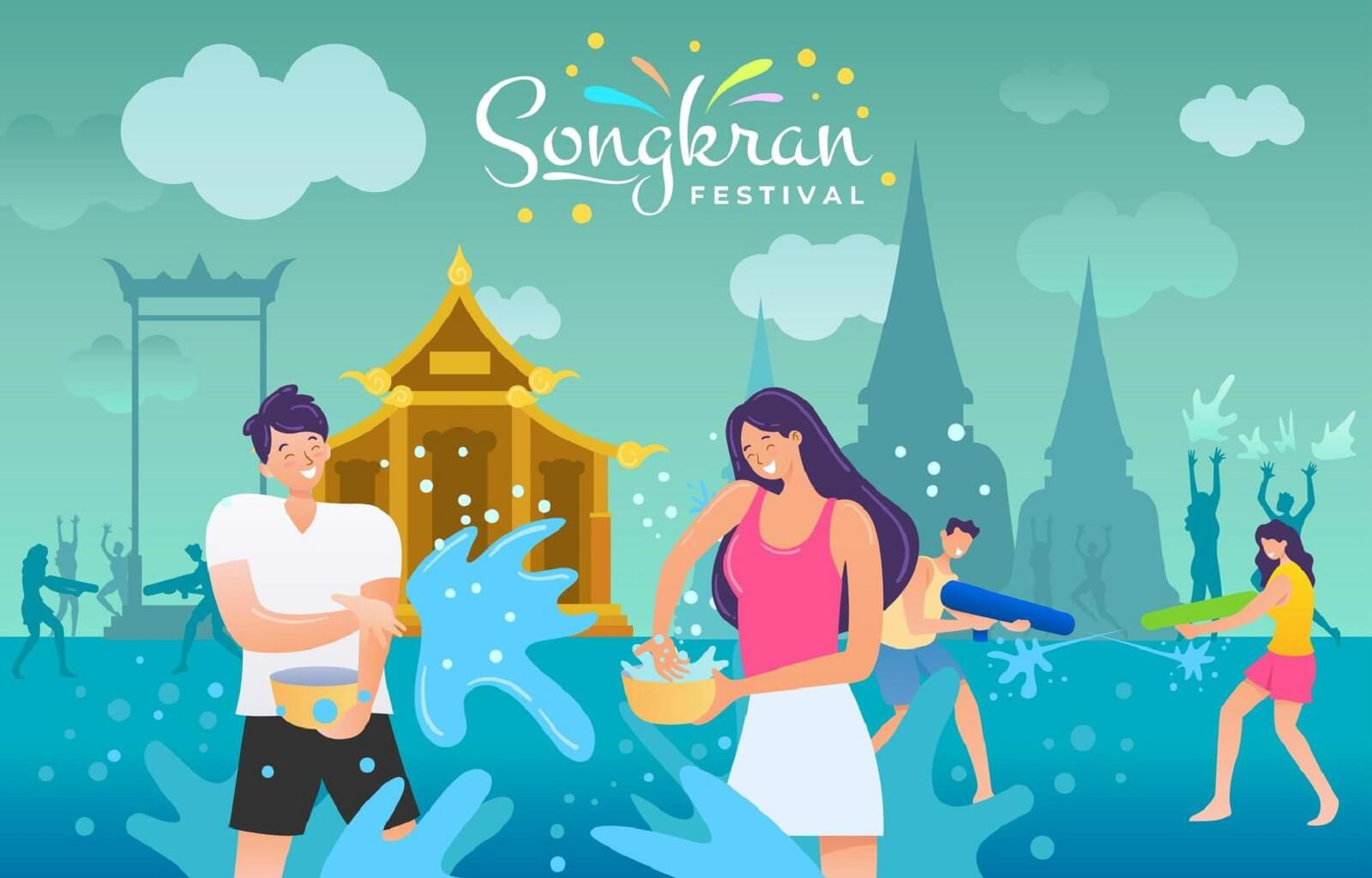 Thailand couple splashing water in Songkran festival free vector download