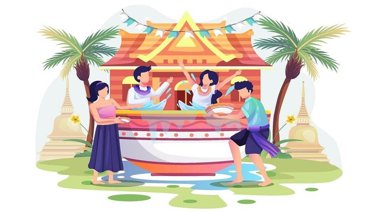 Wallpaper of People celebrating the Songkran festival in Thailand as the Traditional new years day by splashing water from bowls